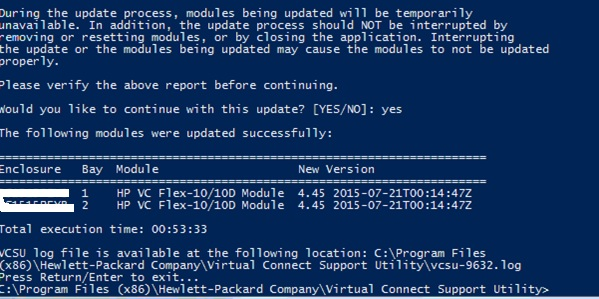 Steps to upgrade the firmware of HP Virtual Connect Module